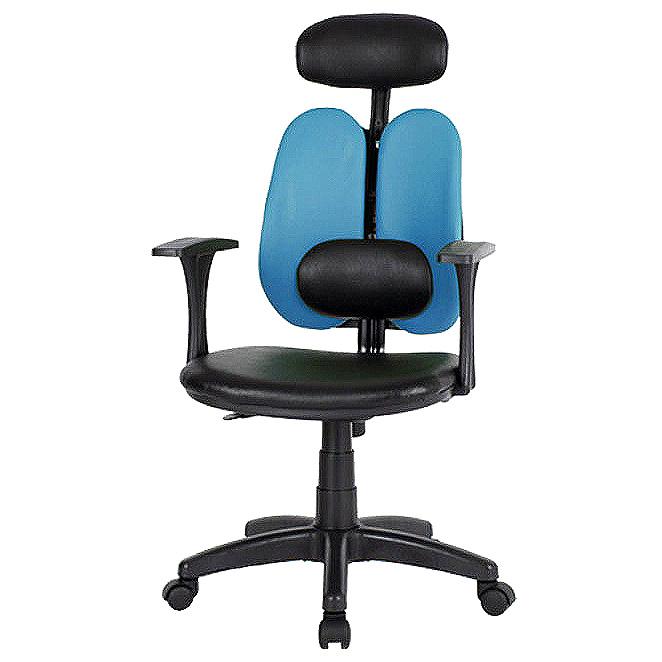 체어포커스 피플 C형 요추헤더형 인조가죽 사무실의자, 블루