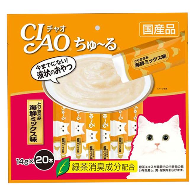이나바 챠오츄르 고양이간식 닭 SC-128, 닭가슴살 + 해산물믹스 혼합맛, 20개입