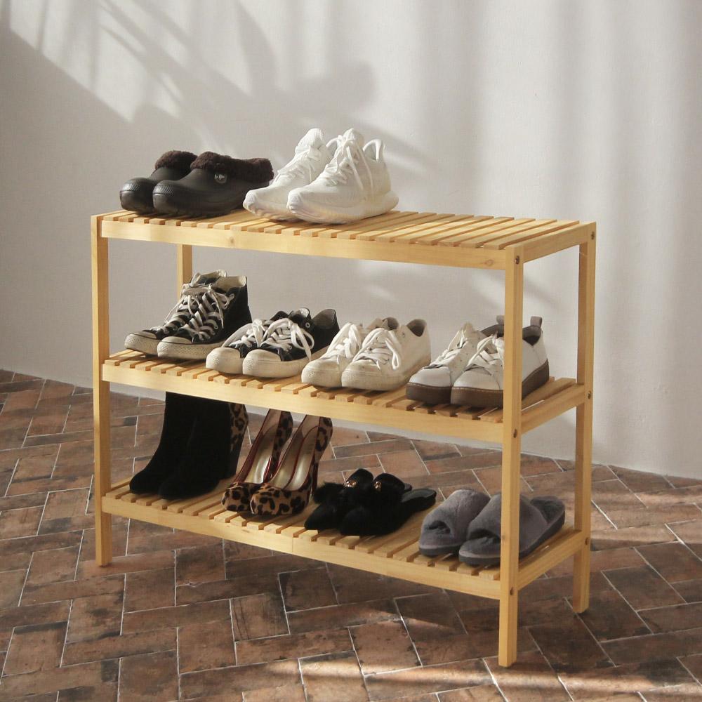 올리빙 원목 벤치형 신발장 3단 1000