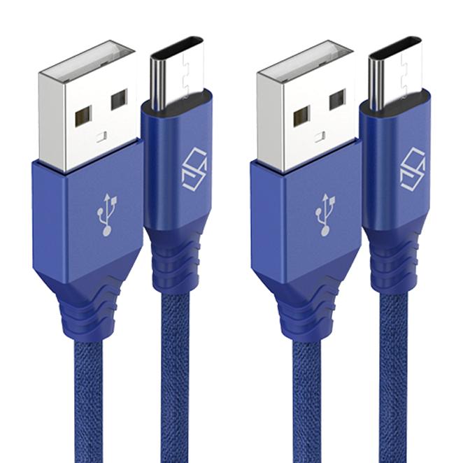 신지모루 더치패브릭 USB C타입 고속충전 케이블 1m, 블루, 2개입
