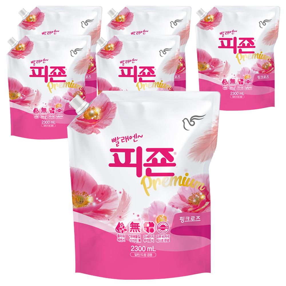 피죤 프리미엄 섬유유연제 핑크로즈 리필, 2.3L, 6개