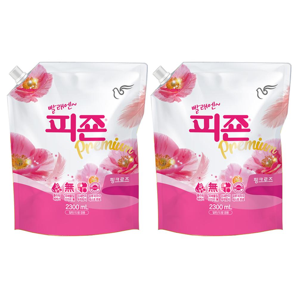 피죤 프리미엄 섬유유연제 핑크로즈 리필, 2.3L, 2개
