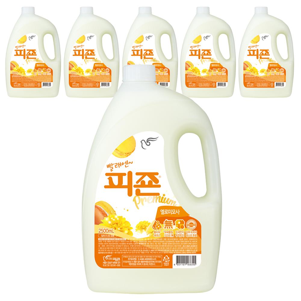 피죤 프리미엄 섬유유연제 옐로미모사 본품, 2.5L, 6개