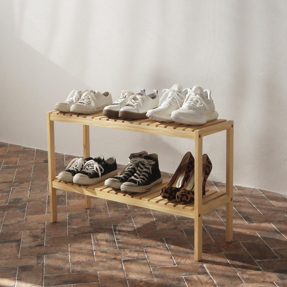 올리빙 벤치형 원목 신발장 2단 800, 단일 색상