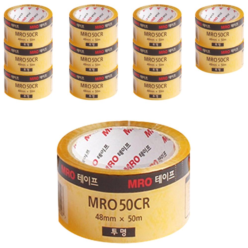 MRO 투명박스테이프 48mm x 50m x 59mic, 투명, 12개입