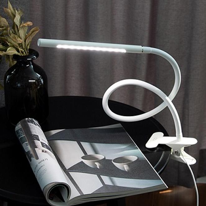 오아 클립 LED 학습용 책상 무선 USB 스탠드 침대 공부 독서등, 화이트