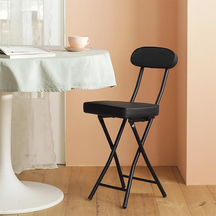 룸앤홈 스퀘어 등받이 의자, 블랙