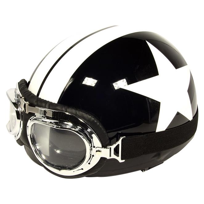 한미 빈티지 오토바이 헬멧, 화이트별 블랙