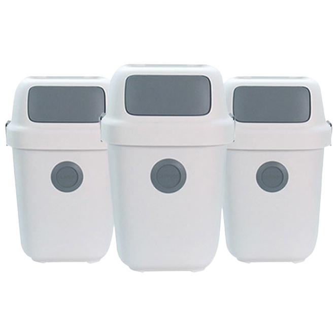 올리빙 도트 가정용 재활용 분리수거함 60L, 화이트, 3개입