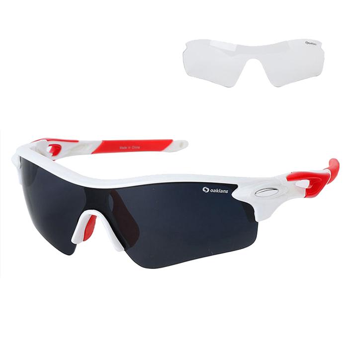 오클렌즈 프리미엄 스포츠 선글라스 프레임 + 렌즈 2종 세트 Q210, 화이트 + 레드(프레임), 스모그(편광렌즈)