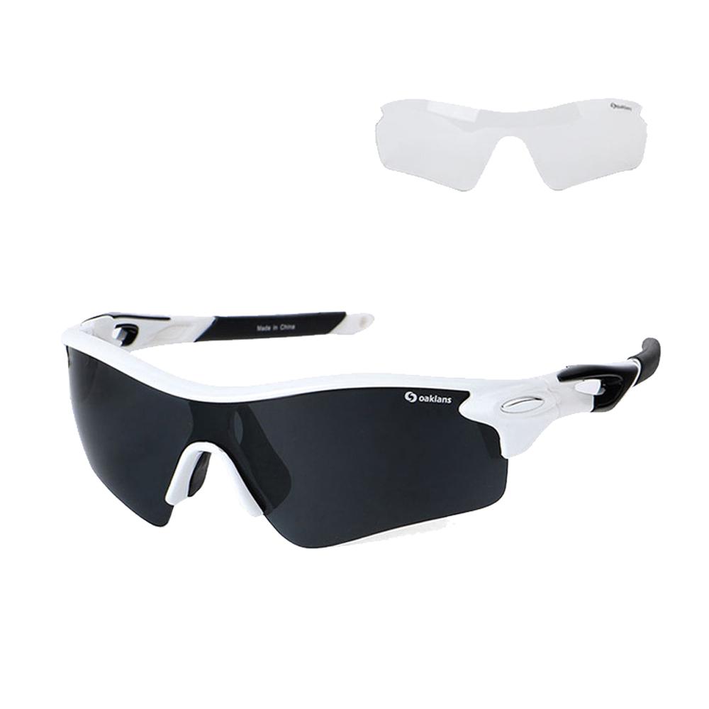 오클렌즈 스포츠 선글라스 프레임 + 편광 + 변색 렌즈 세트 Q210, 프레임(화이트 + 블랙), 편광렌즈(스모그)