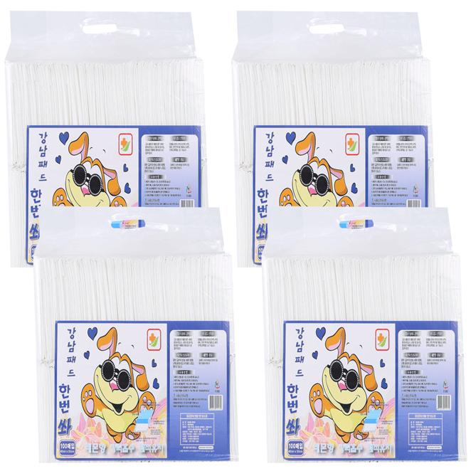 강남패드 한번 쏴 강아지용 배변패드 레몬향 100p, 4개