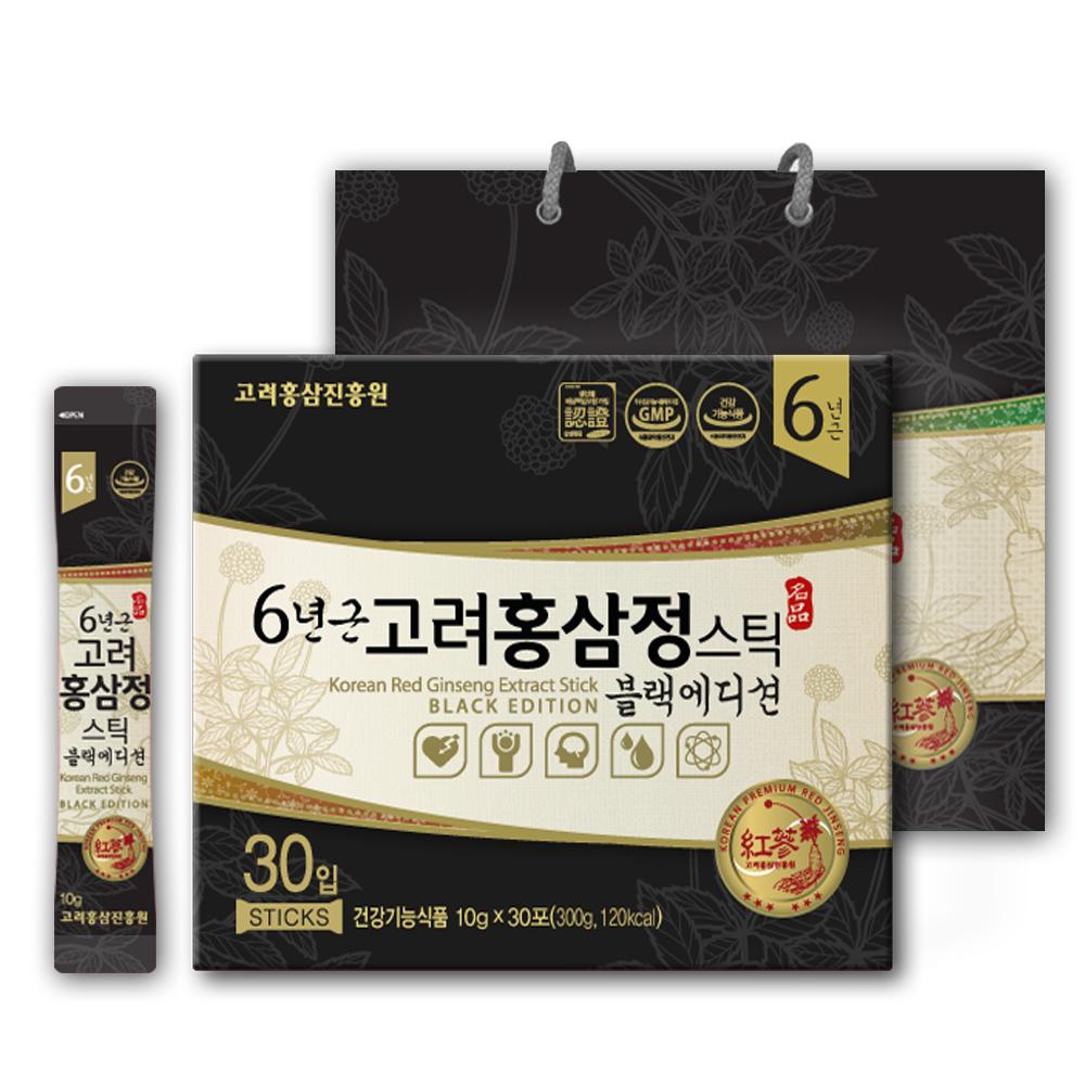 고려홍삼진흥원 6년근 고려홍삼정 블랙에디션 스틱 컴팩트, 10g, 30개입