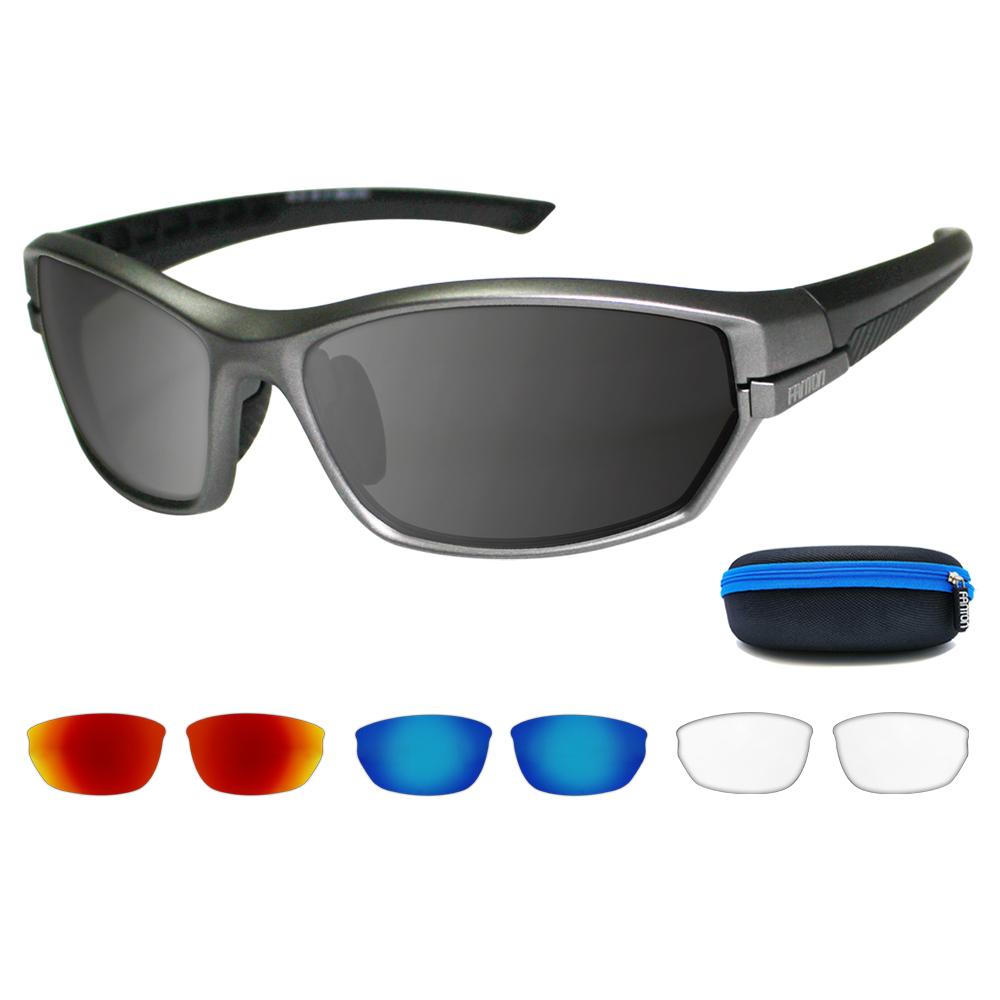 팬톤 렌즈 교체형 스포츠 선글라스 RLCS03 + 추가렌즈 3p + 케이스, 프레임 (무광 펄 그레이), 렌즈 (스모크 미러), 추가렌즈 ( 레드 레보, 블루 레보, 클리어)