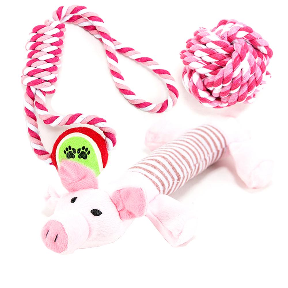 딩동펫 강아지장난감 로프공실타래 레드 + 돼지봉제인형 + 실타래공 핑크, 1세트