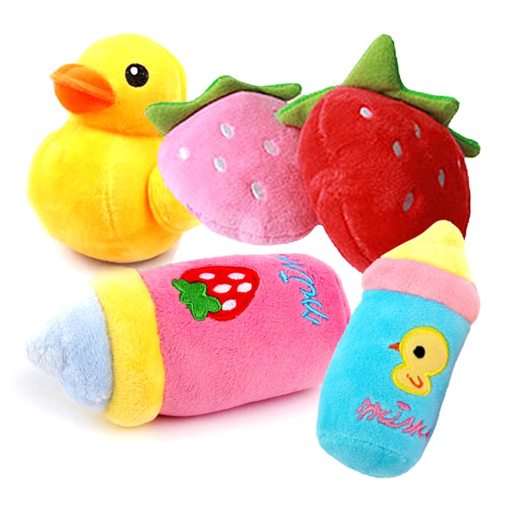 도그아이 강아지장난감 봉제딸기 + 귀염오리 + 귀요미젖병, 랜덤 발송, 1세트