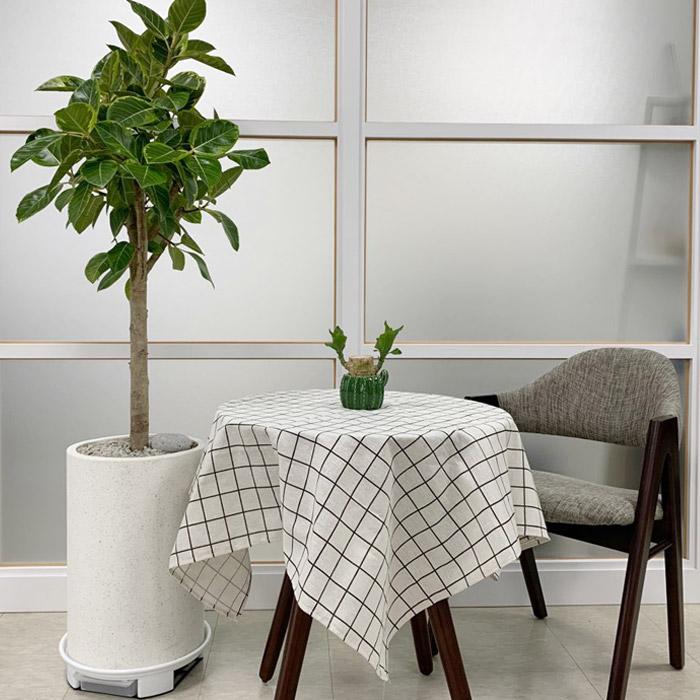 아리코 북유럽 코튼 식탁보 4인, 화이트체크, 140 x 100 cm
