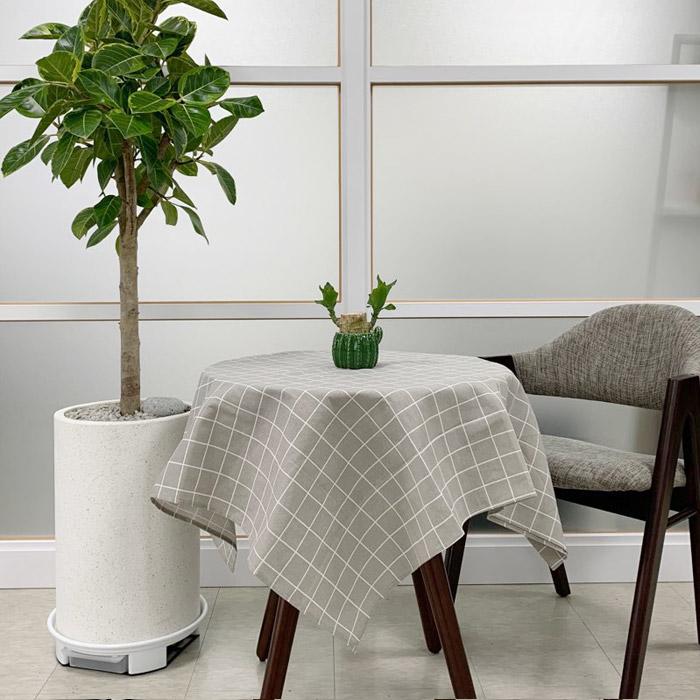 아리코 북유럽 코튼 식탁보 2인, 브라운 그레이 체크, 90 x 90cm