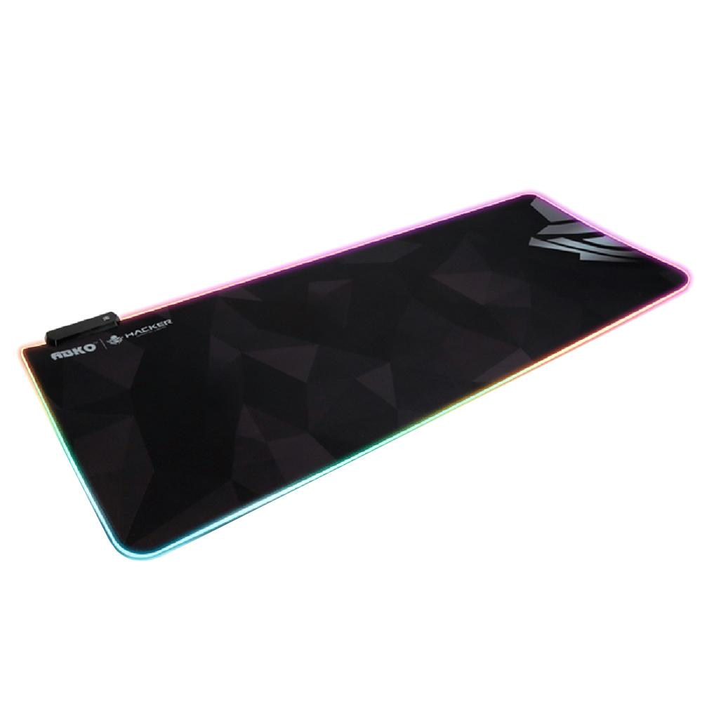 앱코 HACKER 엣지 RGB LED 게이밍 장패드, 혼합 색상, 1개
