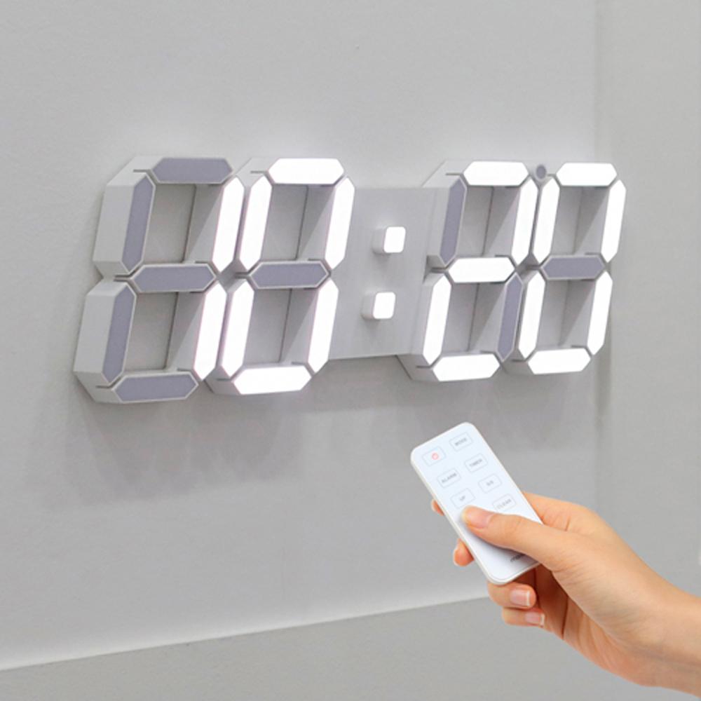 무아스 3D LED벽시계 빅플러스, 화이트