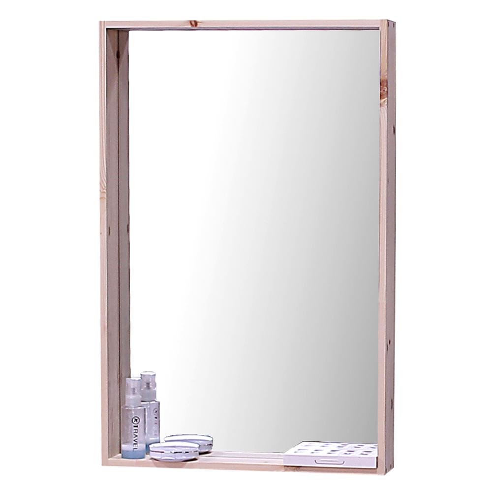 리노 프리미엄 원목 거울 선반형 450/700, 자연 원목