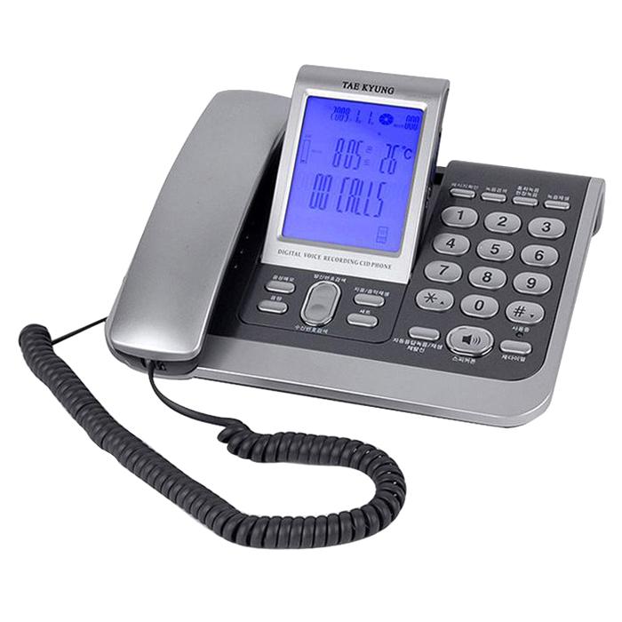 태경전자 TK-2000 자동응답 녹음 녹취 발신자 집전화기 사무용 전화기, 회색