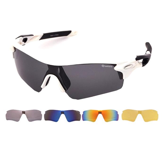 오클렌즈 교체형 스포츠 선글라스 프레임 + 렌즈 5p 세트 XG300, 프레임(화이트 + 블랙)