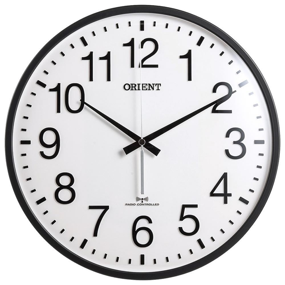 오리엔트 OT767RC RC전파수신 자동시간맞춤 오피스벽시계, 블랙&화이트