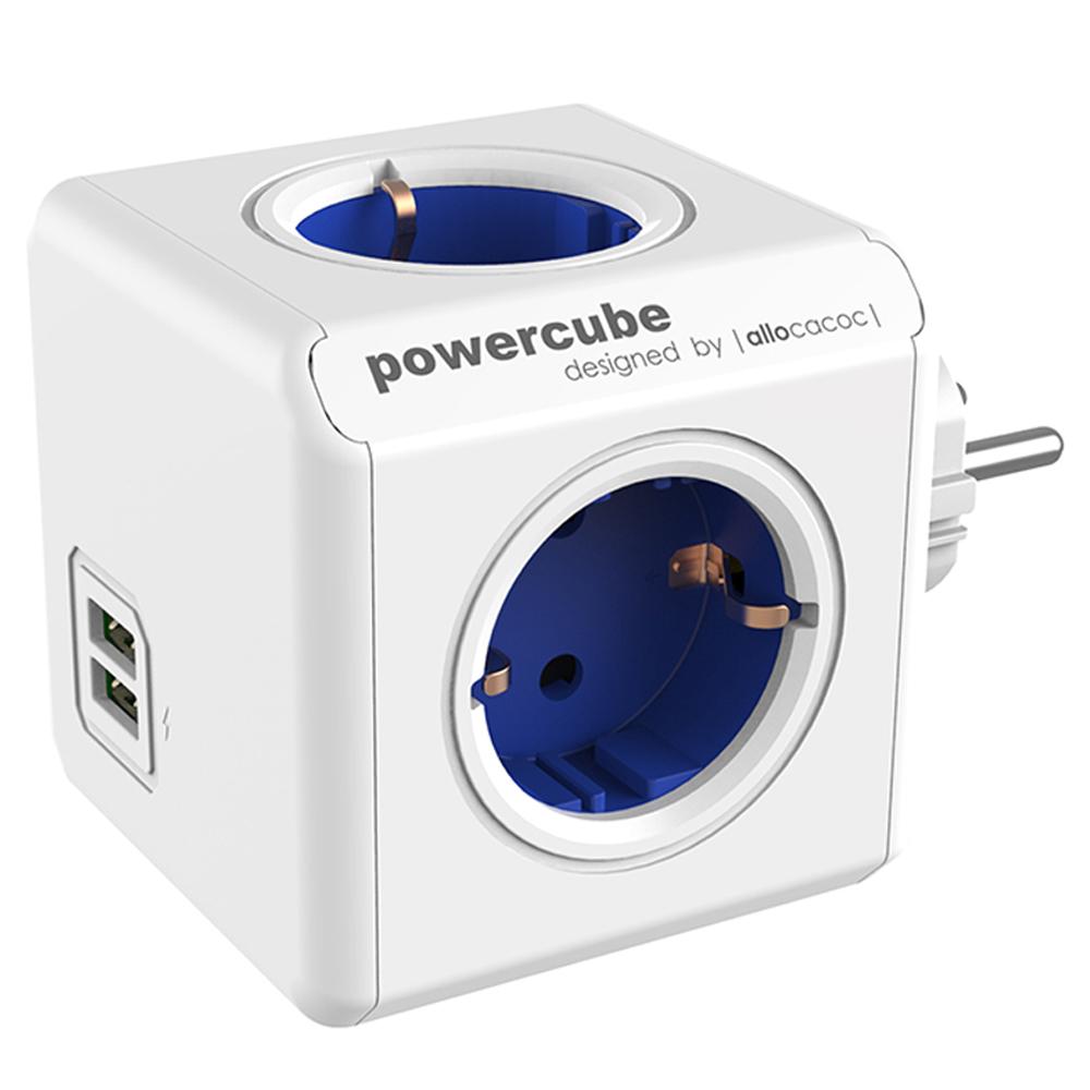파워큐브 멀티탭 오리지널 USB 블루, 7.5cm, 1개