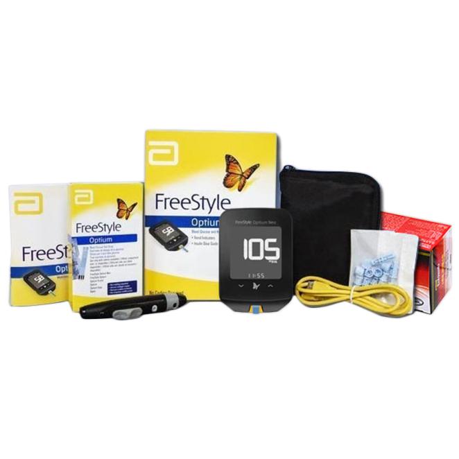 애보트 프리스타일 옵티엄 네오 혈당 측정기 + 시험지 100매 + 수동랜싯 200p + 에프에이 이올스왑 소독솜 100매 + 채혈기 + 휴대파우치, 단일 상품, 1세트