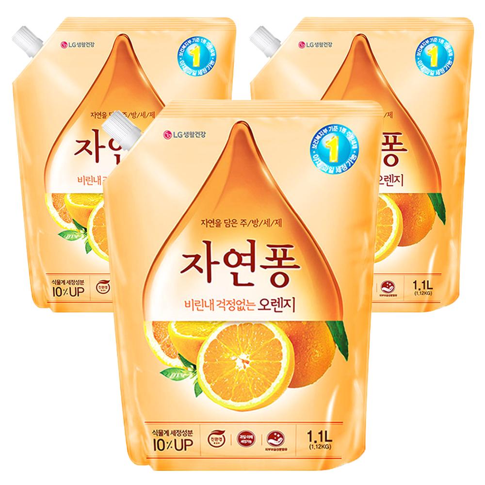 자연퐁 비린내 걱정없는 오렌지 리필형 주방세제, 1.1L, 3개