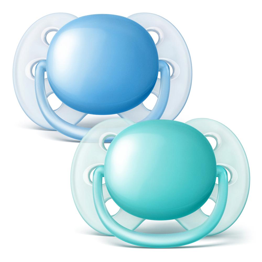 필립스아벤트 울트라 소프트 노리개 젖꼭지 2p, 0~6개월, 라이트 블루, 라이트 그린
