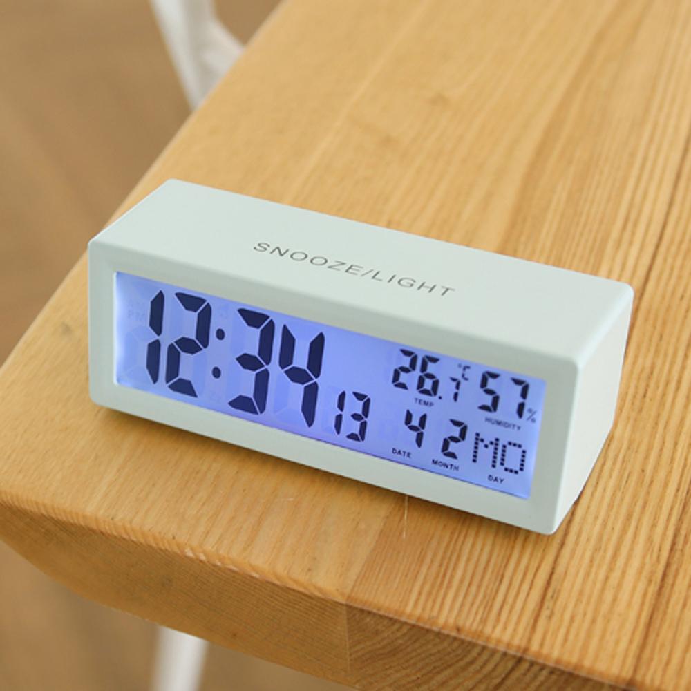 무아스 캘린더 백라이트 탁상시계, 베이비블루