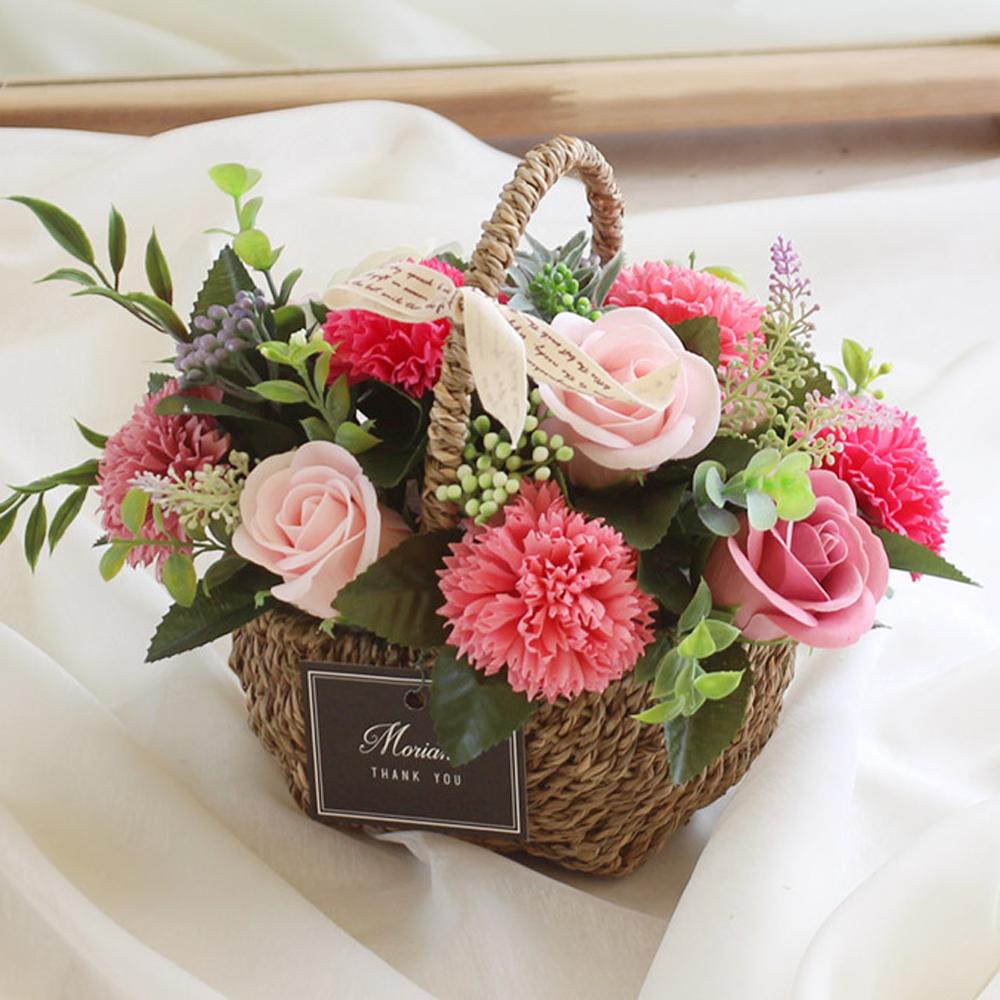 모리앤 비누꽃 쁘띠 꽃바구니, 핑크