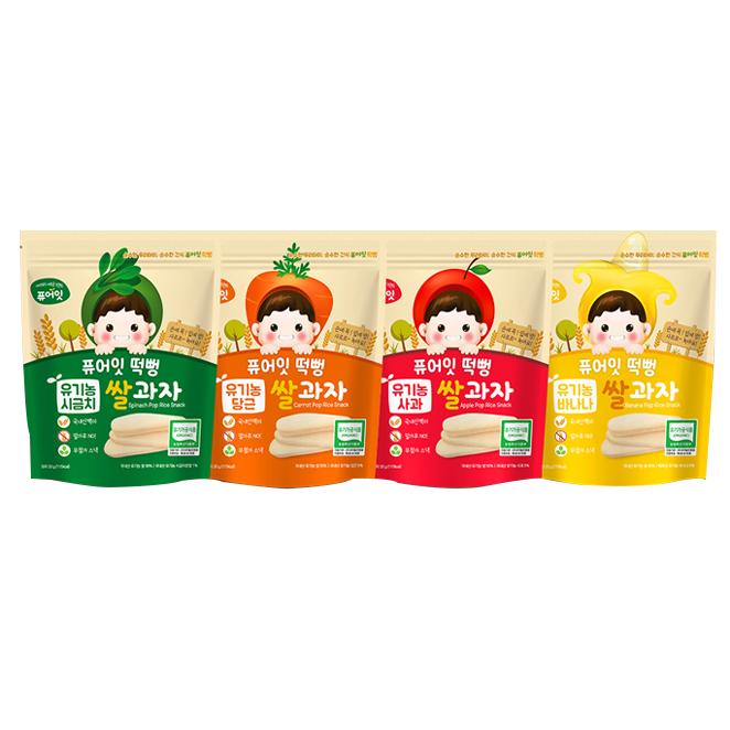 퓨어잇 내이브로 떡뻥 4종 세트 A, 시금치, 당근, 사과, 바나나, 1세트