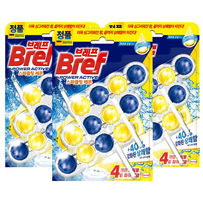 브레프 파워액티브 변기세정제 레몬향 3p, 3개
