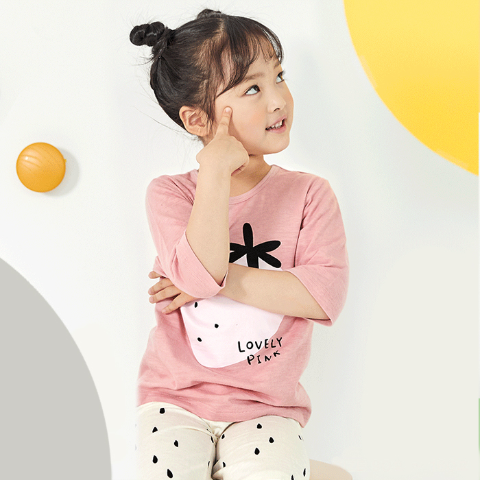 유니프랜드 여아용 핑크딸기 7부 실내복 상하 세트