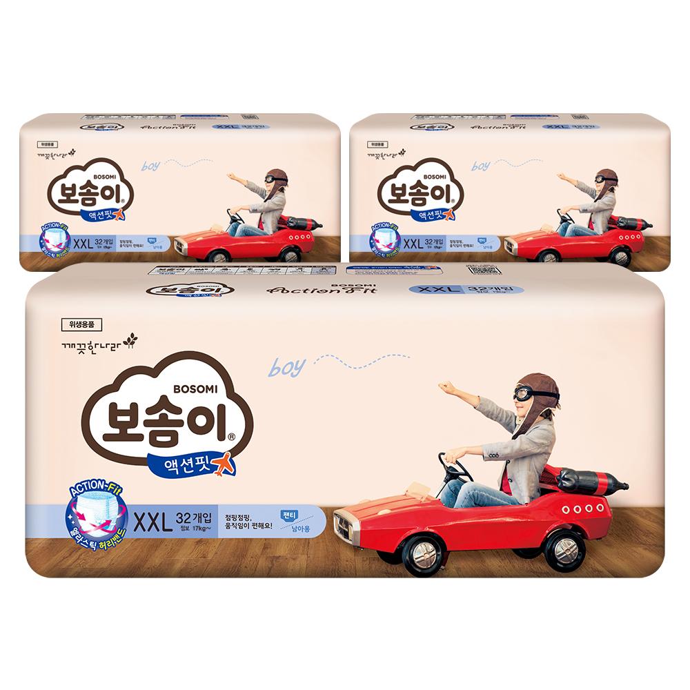 보솜이 액션핏 팬티형 기저귀 남아용 점보 XXL(17kg~), 96매