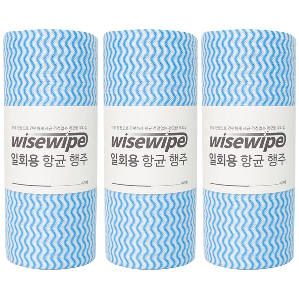 와이즈와이프 항균 다용도 행주 블루, 40매입, 3개