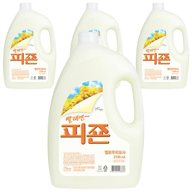 피죤 섬유유연제 옐로우미모사 본품, 3.1L, 4개