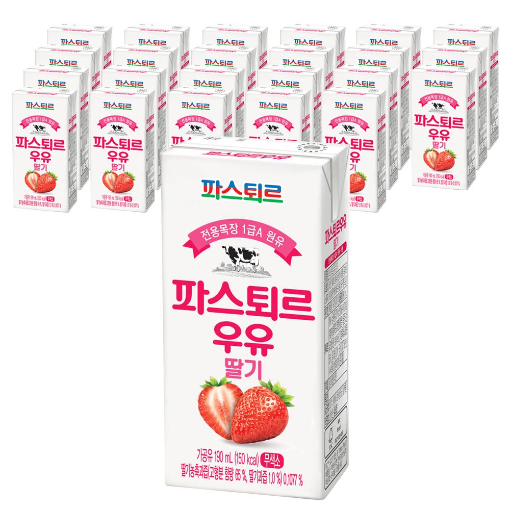 파스퇴르 전용목장 1급 A 원유 파스퇴르 우유 딸기, 190ml, 24개입