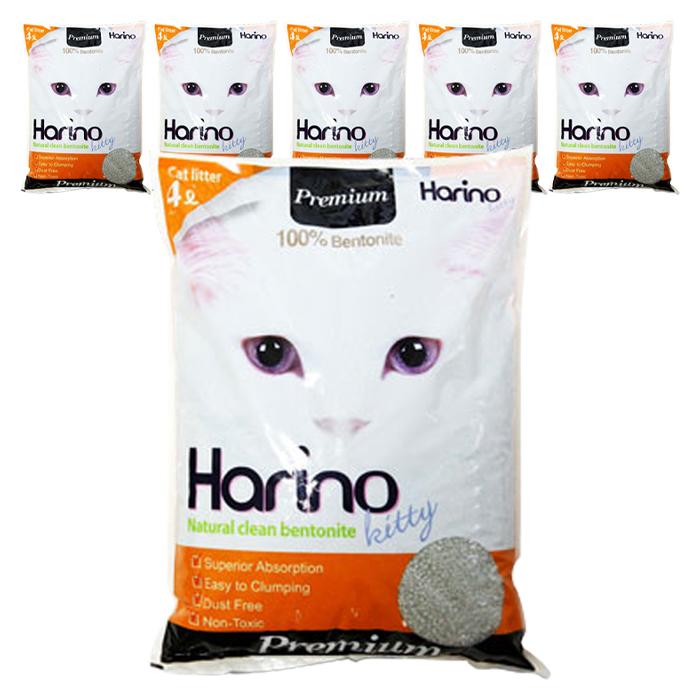 하리노 프리미엄 응고형 고양이모래, 4L, 6개