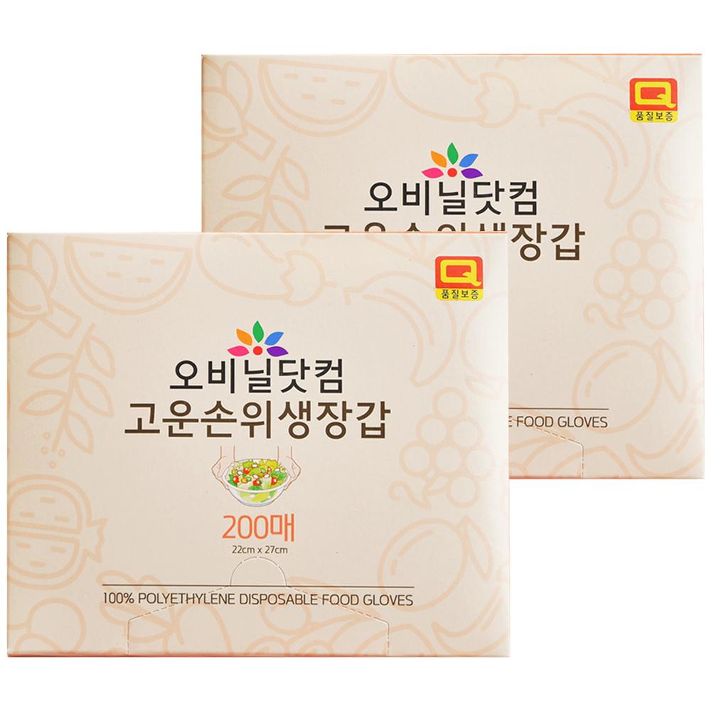 오비닐닷컴 고운손 위생장갑 200매입, 2개