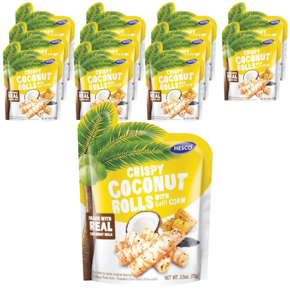 헤스코 크리스피 코코넛 롤 스낵 군옥수수맛, 70g, 16개입