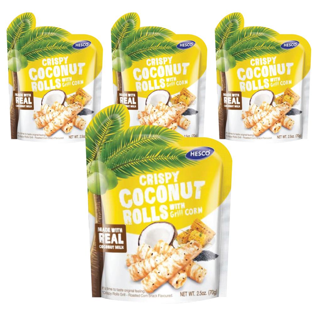 헤스코 크리스피 코코넛 롤 스낵 군옥수수맛, 70g, 4개입