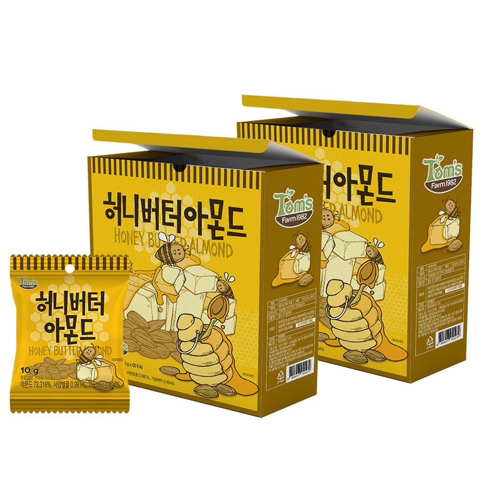 탐스팜 허니버터 아몬드 50p, 500g, 2개입