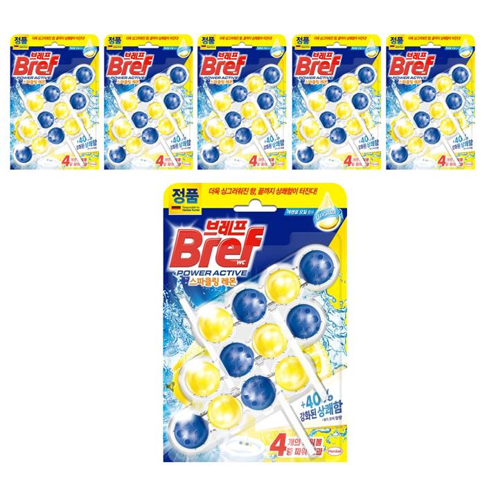 브레프 파워액티브 변기세정제 레몬향 3p, 6개