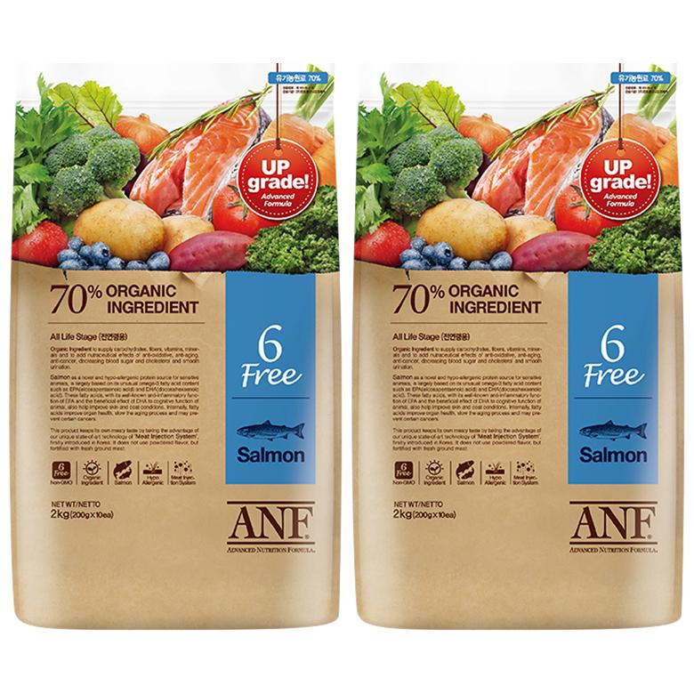 ANF 전연령 유기농 6Free 연어 애견사료, 6kg, 2개