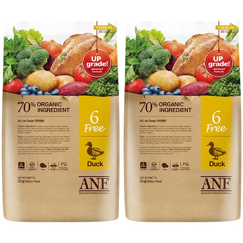 ANF 유기농 6Free 오리 전연령 애견사료, 6kg, 2개