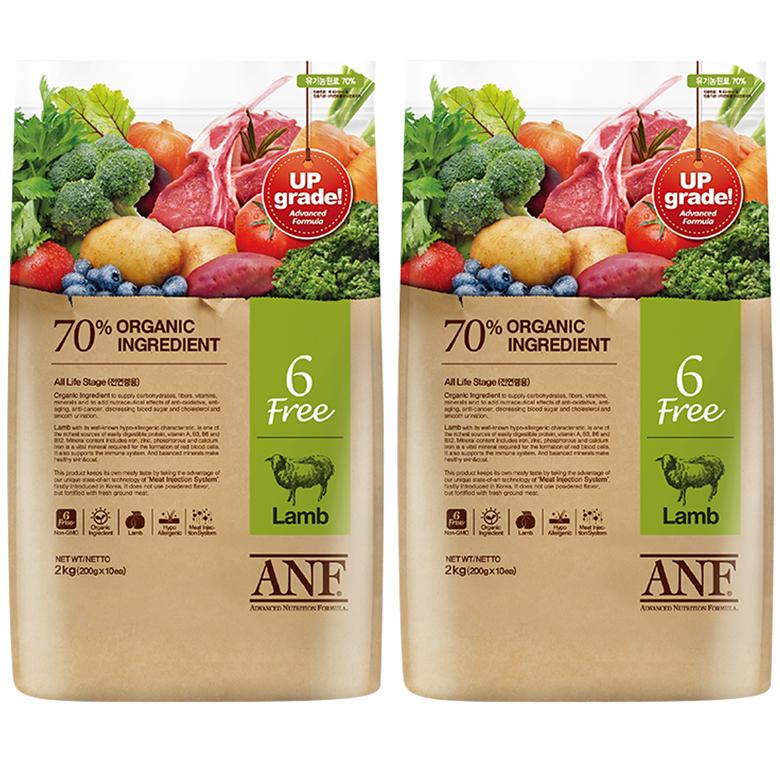 ANF 유기농 6Free 양고기 전연령 애견 사료, 양, 2kg, 2개